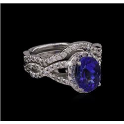 14KT White Gold 1.95ct Tanzanite and Diamond Wedding Ring Set