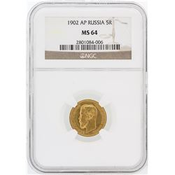1902-AP NGC MS64 Russia 5R Gold Coin