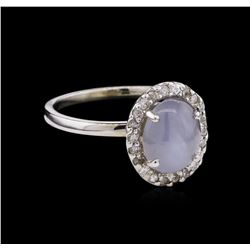 3.10ct Star Sapphire and Diamond Ring - 14KT White Gold