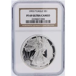 1993-P NGC Graded PF69 Ultra Cameo $1 American Silver Eagle Silver Coin