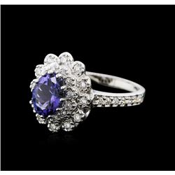 14KT White Gold 1.59ct Tanzanite and Diamond Ring
