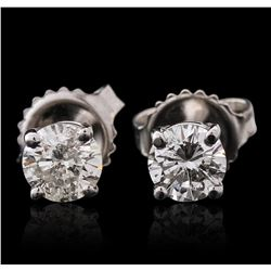 14KT White Gold 0.90ctw Diamond Solitaire Earrings