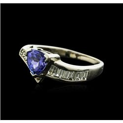 18KT White Gold 1.34ct Tanzanite and Diamond Ring
