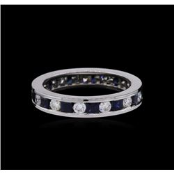 1.20ctw Blue Sapphire and Diamond Ring - 14KT White Gold