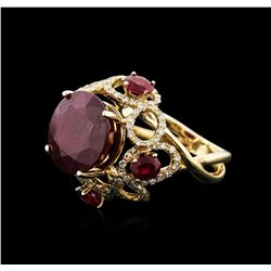 14KT Yellow Gold 11.46ctw Ruby and Diamond Ring