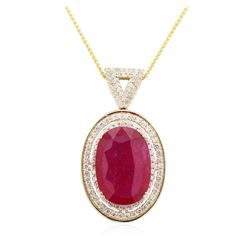 14KT Yellow Gold 21.67ct Ruby and Diamond Pendant With Chain