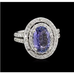 14KT White Gold 1.92ct Tanzanite and Diamond Ring