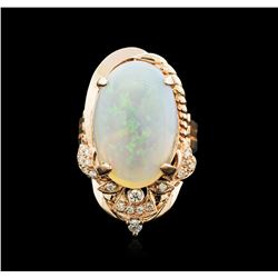 14KT Rose Gold 10.21ct Opal and Diamond Ring