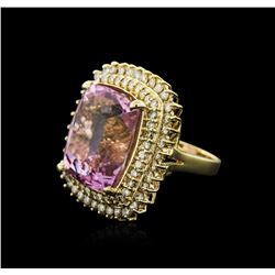 14KT Yellow Gold 36.29ct Kunzite and Diamond Ring