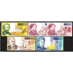 National Bank van Belgie. 1995-2001 ND Issue. Last Franc Issue with all signature varieties.