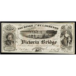 The Banks of the St.Lawrence Victoria Bridge 1857 Advertising Banknote.