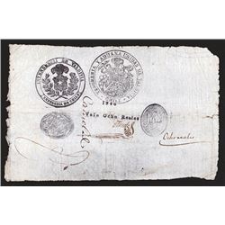 Province of Valdivia Treasury and Customs, 1840s Issue Rarity.