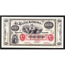 Banco Agricola, 18xx (ca.1869-93) Proof Banknote.