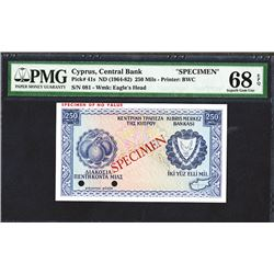 Central Bank of Cyprus. 1964-82 Issue. Specimen.