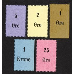 Chits of 1, 2, 5, 25, Ore, 1 Krone. Perforated edges.