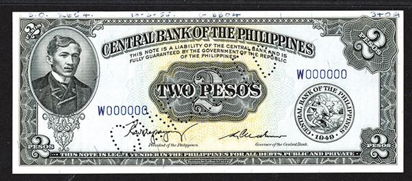 Central Bank Of The Philippines Specimen Note. 1949