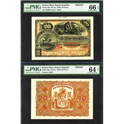 Banco Espanol De Puerto Rico, ND (1889) Issue Front & Back Proof Banknote.