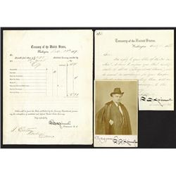Francis Spinner signed photo, letter about bonds, 1866, and Treasury flier/receipt on mutilated curr