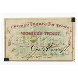 Chicago Board of Trade, Member's Ticket ca.1865..