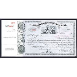 Lancaster County National Bank, ca.1900 Specimen Stock Certificate.