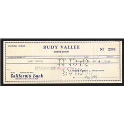 Check from Rudy Vallee to Harry Stanton. 1945.