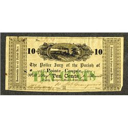 Police Jury of the Parish of Pointe Coupee, 1862 Obsolete Banknote.