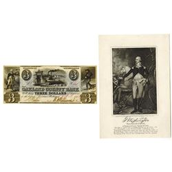 Oakland County Bank, 1843 Obsolete Banknote.