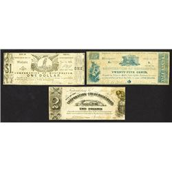 Corporation of Winchester. 25 Cents, 1 Dollar; Corporation of Fredericksburg, 2 Dollars. 1861-62.
