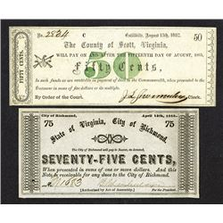 County of Scott, 50 Cents; County of Richmond, 75 Cents. 1862.