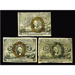 Fractional Currency, Second Issue 5, 25, 50 Cents.