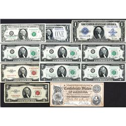 Mix of US Currency including a courtesy signature.