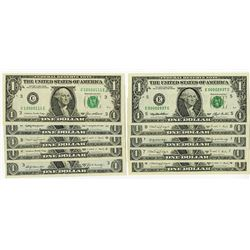 Federal Reserve Notes. Various Low and Matching numbers.