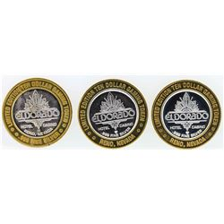 Lot of (3) Eldorado Reno $10 Casino Gaming Token .999 Fine Silver Limited Editio