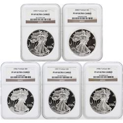 5 Coin Set 1996-2000 Silver Eagle Coins NGC PF69 Ultra Cameo