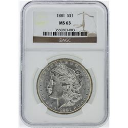 1881 Morgan Silver Dollar Coin NGC Graded MS63