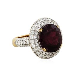 18KT Rose Gold 9.32ct Tourmaline and Diamond Ring