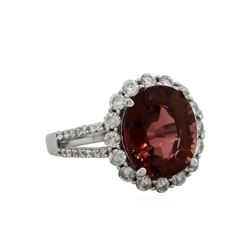 14KT White Gold 4.98ct Pink Tourmaline and Diamond Ring