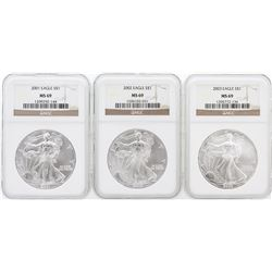 3 Coin Set 2001-2003 Silver Eagle Coins NGC MS69