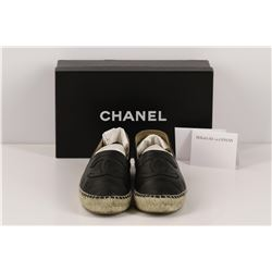 Authentic Chanel Espadrilles Flat Shoes Black Lambskin