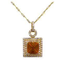 14KT Two-Tone Gold 3.31ct Fire Opal and Diamond Pendant With Chain