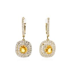 14KT Yellow Gold 1.40ctw Yellow Sapphires and Diamond Earrings