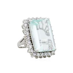 14KT White Gold 30.70ct Aquamarine and Diamond Ring