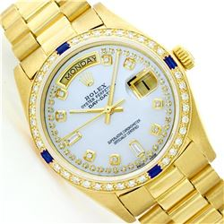 Mens Rolex 18K Yellow Gold Diamond And Sapphire President Wristwatch