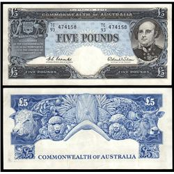 Australia, Five Pounds, Coombs/Wilson (1960) TC/93 474158 (R.50)
