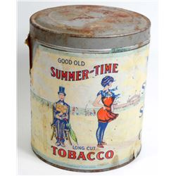 ANTIQUE GOOD OLD SUMMER TIME LOG CUT TOBACCO ADVERTISING TIN