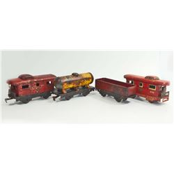 LOT OF 4 VINTAGE TIN LITHO TRAIN CARS