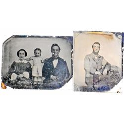 """LOT OF 2 ANTIQUE TIN TYPE PHOTOS - BOTH APPROX. 3"""" BY 2"""""""