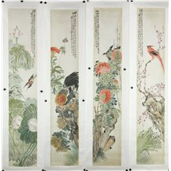 4 Pc WC Flowers & Birds Paintings Zhou Meiqing