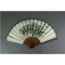 Chinese Bamboo Fan Painting Signed
