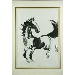 WC Horse Paper Painting w/Frame Beihong 1895-1953